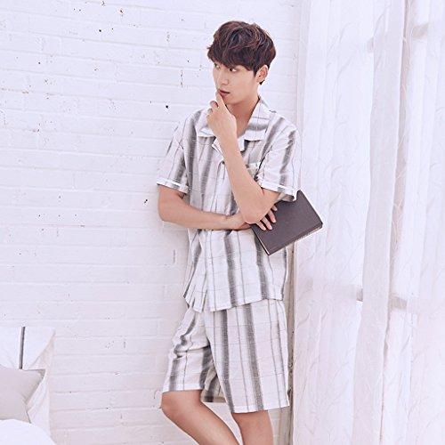 Pyjamas Sommer Mode Männer Und Frauen Baumwolle Sexy Komfortable Paare Home Service Unterwäsche (Schlafanzug + Shorts) GAOLILI (Farbe : Bunte, größe : Men-l)