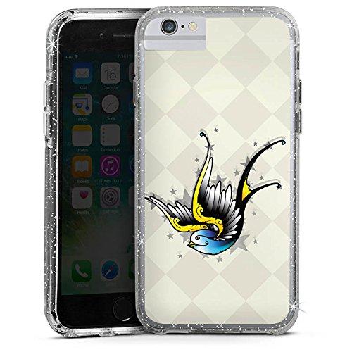 Apple iPhone X Bumper Hülle Bumper Case Glitzer Hülle Vogel Bird Schwalbe Bumper Case Glitzer silber