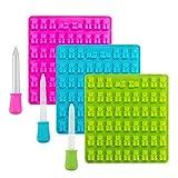 3er-Pack Silikonformen mit 53 Mulden für Süssigkeiten, Eiswürfel, Seife und vieles mehr Gummy Bear