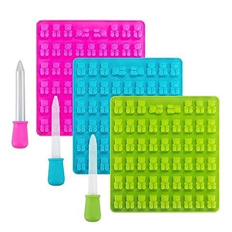 Lot de 353Figures Candy Moules en silicone et Ice Cube plateaux–Gummy Bear Moules avec 3Dropper pipettes pour la création de bonbons, gelée, Savon, Chocolat et fêtes d'enfants Gummy Bear