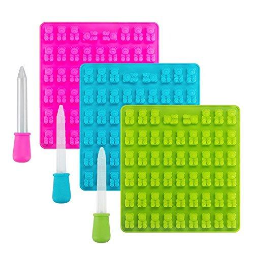 3er-Pack Silikonformen mit 53 Mulden für Süssigkeiten, Eiswürfel, Seife und vieles mehr Gummy Bear Silikon Candy Mold Gummibärchen