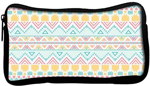 snoogg Bleu clair motif aztèque en toile étudiant Stylo Crayon cas sac de maquillage Porte-monnaie Pochette utilitaire