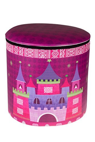 Clever Creations Spielzeug-Aufbewahrungsbox und Sitzgelegenheit - Motiv mit Prinzessin, Schloss & Kutsche - perfekte Größe für Bücher, Kleidung, Elektrogeräte und Geräte - faltbar - Pink