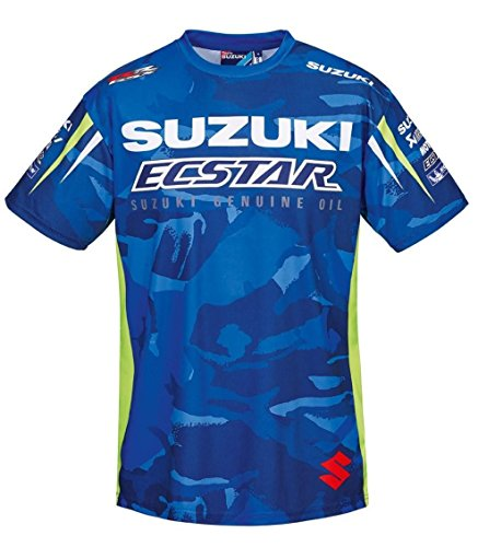 SUZUKI MotoGP Team T-Shirt, Edelprint kurzarm ! Camouflage Ecstar Racing ! blau weiß neon (L) (Suzuki T-shirts Motorrad)
