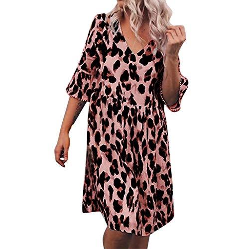 Damen Leopard Print Knielang Kleider Plus Size,Mode Drucken Elegant V-Ausschnitt Kurzarm Strandkleider Große Größen URIBAKY