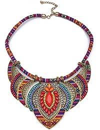 BESTOYARD Gargantilla collar babero étnico collares hechos a mano cuentas multicolor Boho joyería declaración para las mujeres (rojo)