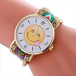 vovotrade Moda lindo emoji cara amor corazón ojos patrón trenzado pulsera cuerda wristband Señora mujer reloj de pulsera (d)