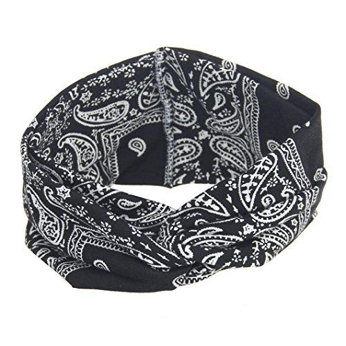 VENMO Frauen Yoga Sport Elastic Floral Haarband Stirnband Turban verdreht verknotet Elastische Blume Gedruckt Stirnbänder Baumwolle Gestrickte Verdrehte Weiche Turban-Kopf-Verpackungs (Black)