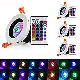 LED Einbaustrahler Schwenkbar Dimmbar mit Fernbedienung 16 Farbe | RGB | 4x6W | Ø71mm Farbwechsel Deckenstrahler Klein Deckenspots mit Treiber