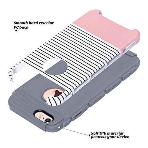 iPhone 6s hülle, ULAK iPhone 6 hülle Dual Layer Case Cover Hybrid Schild TPU + PC Hard Case Cover für iPhone 6s / 6 4,7 Zoll (Roségold Streifen + Grau) Roségold Streifen + Grau