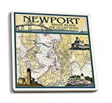 Newport, Rhode Island Nautical Chart, Céramique, multicolore, 4 Coaster Set