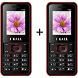I KALL K25 1.8 Inch Display Set Of Two Mobile With Leather Back- Red