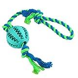 Magic Zone IQ Treat Ball mit Seil Spielzeug für Hunde & Katzen, Unzerstörbare Dental Treat Bite Resistant Durable Soft Gummi für Pet IQ Training / Spielen / Kauen