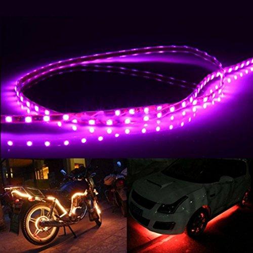 Iluminación Longitud: 90 cm, 45 LED 3528 SMD Luz de tira flexible impermeable del coche para la decoración del coche, DC 12V Iluminación para ti (Color : Pink Light)