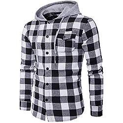 FRAUIT Herren Herbst Casual Plaid Langarm Pullover Männer Sweatshirt Winter Kapuzenpullover Pulli Sweatshirt Jacke
