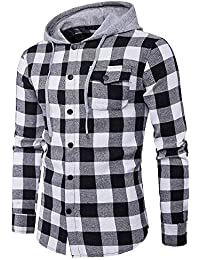 Men's Sweatshirts Hoodies, Men's Autumn Casual Plaid Shirts Long Sleeve Pullover Shirt Top Hooded Blouse