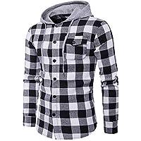 ITISME TOPS Herren Herbst Casual Plaid Shirts Langarm Pullover Shirt Top mit Kapuze Bluse Winter Warm halten