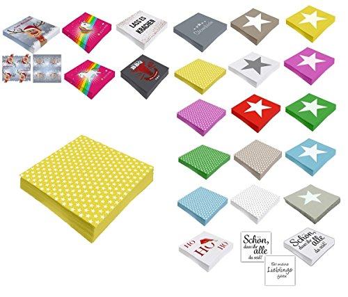 Unbekannt Papier Servietten 3 lagig 33 x 33 cm (40, Gelb Sternchen) (Servietten Papier Gelbe)