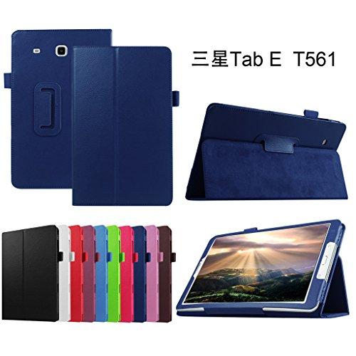 Mama Mouth PU Leder Folio 2-Folding Stand Cover mit Stylus Halterung für Samsung Galaxy Tab E 9,6/E Nook 24,4cm T560T561T567Verizon 4G LTE Blau Dunkelblau