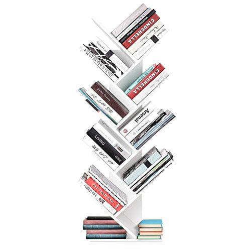 HOMFA Estantería Librería de Árbol Estantería de pared para libros CDs Blanco 40X20X127CM