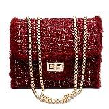 SUCES Damen Tasche Weiblicher Kette Square Abendtasche Schön Samt Umhängetasche Winter Abendmode Messenger (Rot,Free)