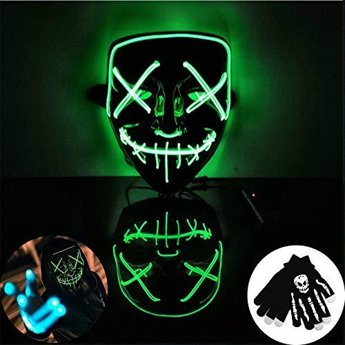 Kungfu Mall - 1 máscara Halloween luz LED Verde