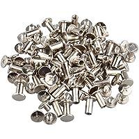 50 piezas Chicago encuadernación tornillo poste de acero inoxidable remache de uñas planas sujetadores para libro álbum de fotos cuero cinturón, tono plateado, 5 x 10 mm