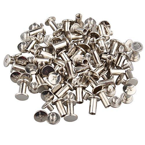 Lot de 50 rivets en Nickelage argenté de 5 x 10 mm pour reliure à vis, vis de réparation pour cuir, album photo ou de scrapbooking, ceinture en cuir