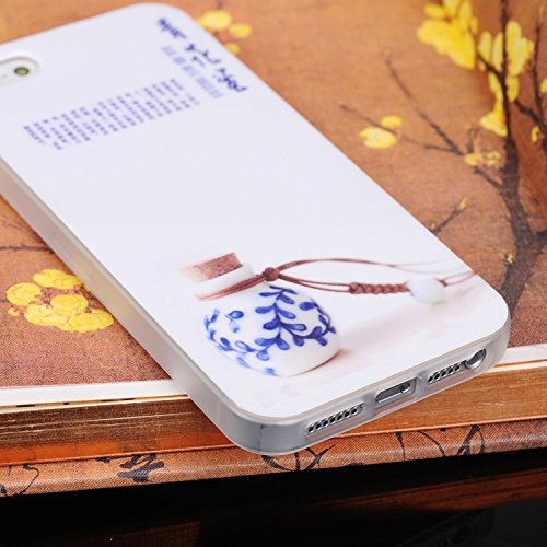 iPhone Case Cover IPhone 5S SE-Fall-Abdeckung, China CERIMIC Stil China Porzellan Farbe Muster TPU weiche Fall-Abdeckung für IPhone 5S SE ( Color : Tall Bottle ) Small Bottle