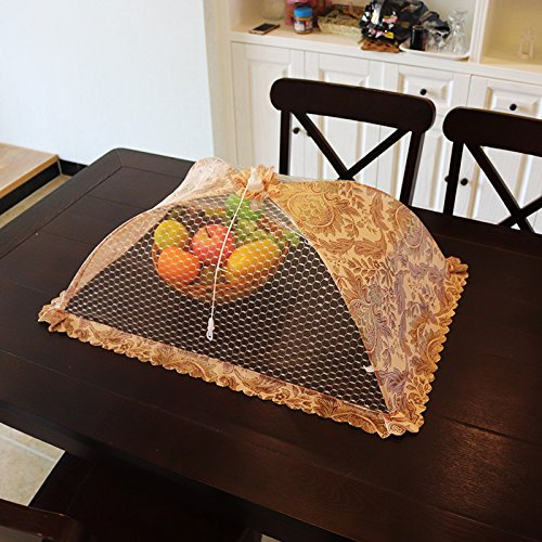 BBDQX Dish cover folding food cover, table cover, food cover, anti flies cover, rectangle leftover bowl cover, vegetable umbrella cover, vegetable cover round,Square deep caffeine bud Deep Square Bowl