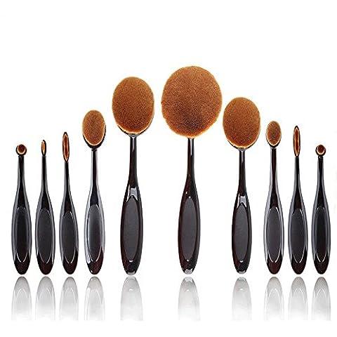 gcup 10pcs maquillaje ovalada crema Puff Cosméticos cepillo de dientes con forma de Fundación