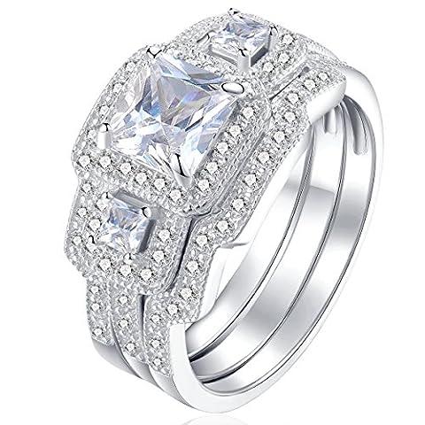 Newshe 3pcs Ladies Ring Set 925 Sterling Silver Luxury Unique Princess Cut Cubic Zirconia Wedding Band Engagement Ring Set Size