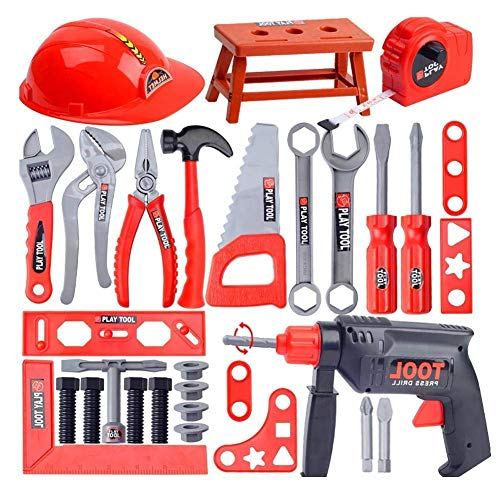 Kids Construction Educational Toys Plastic Building Tool Kits Set, Including Hard Hat, Folding Work Benchmark Workshop Mit Drill Perfect Christmas Toys Geschenke Für Jungen Und ()