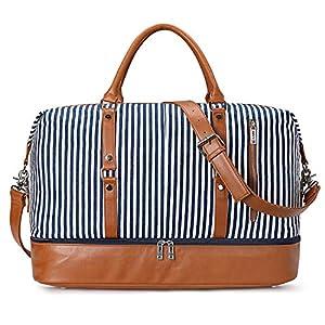 S-ZONE Reisetasche Canvas PU Leder 45L Weekender Tasche Travel Duffle Bag Übergröße Handgepäck mit Abnehmbar…
