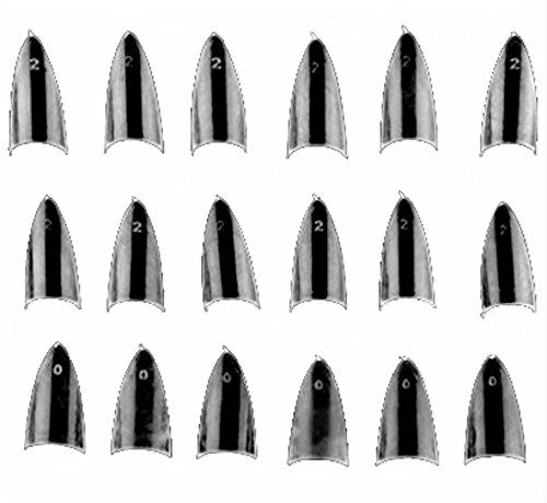 Asien 500pcs klare scharfe enden Stiletto Glitzer Farbe False Nail Tips Acryl Nagel
