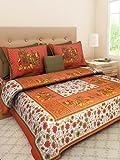 #10: cotton rajasthani jaipuri sanganeri king size double bed sheet with 2 Pillow Cover