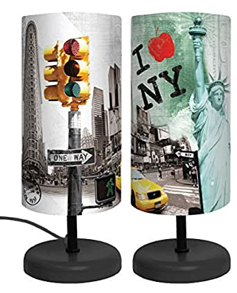 lampe abat jour i love new york h 29cm. Black Bedroom Furniture Sets. Home Design Ideas