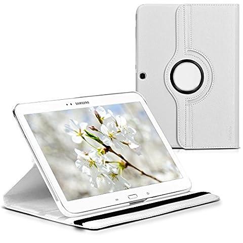 kwmobile Hülle für Samsung Galaxy Tab 3 10.1 - 360° Standfunktion Case Tablet Schutzhülle Kunstleder - Smart Cover Tabletcase Weiß
