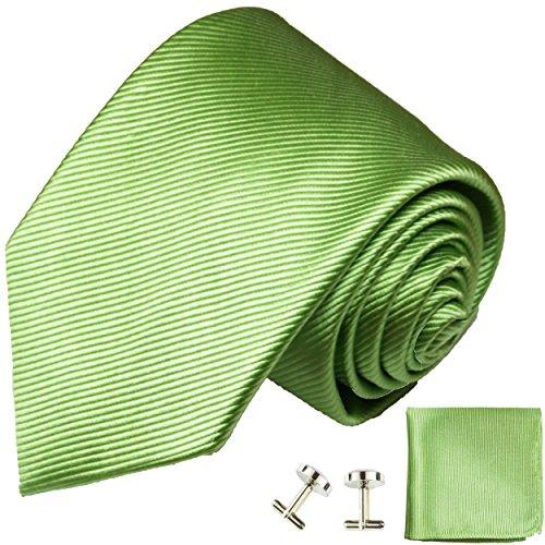Cravate homme vert uni ensemble de cravate 3 Pièces (longueur 165cm)