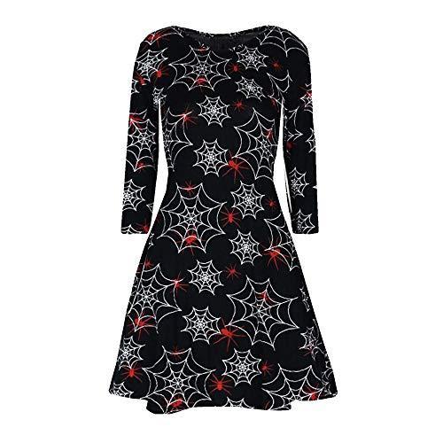 TEBAISE Halloween Damen Kleid Rundhals Strandkleid Frauen Blumen -