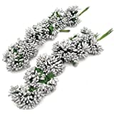 Satyam Kraft Artificial Pollen Flowers for Tiara Making and Jewelry Making Pack of 144 Pollen (12 Bunch of 12 Pollen Each) (Silver)