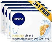 NIVEA Honey & Oil Soap Bar, Jojoba Oil and Honey Extract, Delicate Scent, 3+1 FREE, 4x