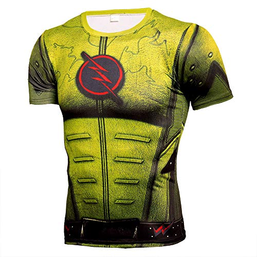 HOOLAZA Reverse-Flash Gelb Yellow Männer Kurzarm Kompression Herren T-Shirt Fitness Sport Gym Compression Avengers Short Shirt Herren Gym Beim Training T-Shirt L