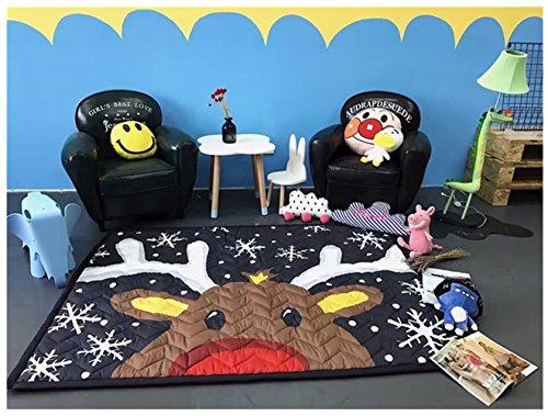 Kinder Erwachsener Cartoon faltbare Baumwollstoff Bodenmatte Sportmatte kriechende Matte Anti-Rutsch-Matte Zelt Matte Teippich (Davidshirsch)