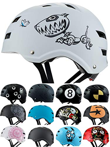 Skullcap® BMX Helm - Skaterhelm - Fahrradhelm - Herren | Damen | Jungs & Kinderhelm Gr. M (55 - 58 cm), Robodog