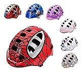 meteor® Casco protector para bicicleta infantil, para niños, talla pequeña (M, SPIDER)