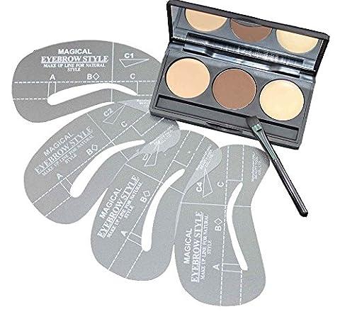 VALUE MAKERS® Eyebrow Kit, 2X Augenbrauen-Puder und 1X Wachs, 3er