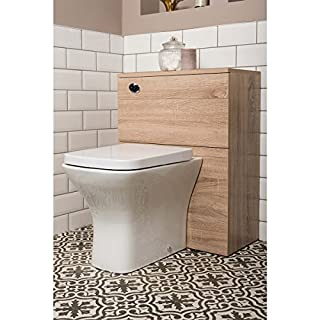 Aquariss Modern Light Oak 600 mm Back to Wall Concealed Cistern Toilet WC Unit