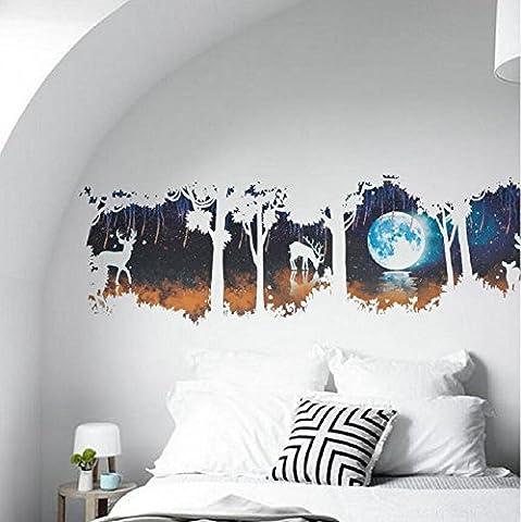 YYH Grand DIY Cerf forêt Stickers muraux Salon Chambre Contexte