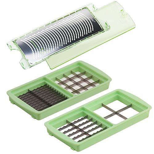 Genius A33983 Nicer Dicer Magic Cube Messer Einsätze Reibe, Edelstahl, grün